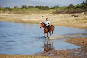 Riding in dam